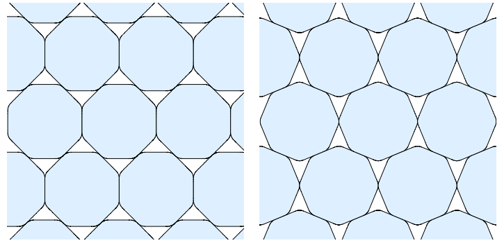 Two packings of smoothed octagons